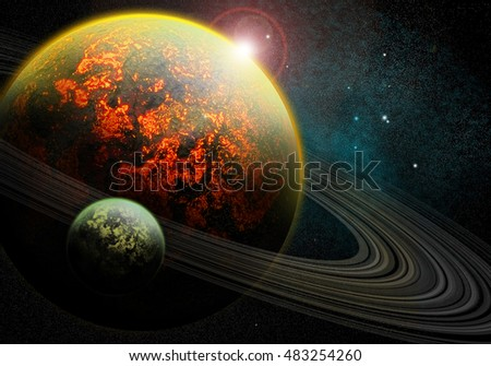 Stock Photo Burning lava planet with rings around it