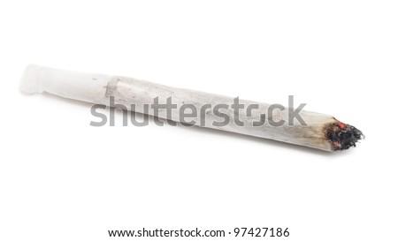 Burning marijuana joint isolated on white background.