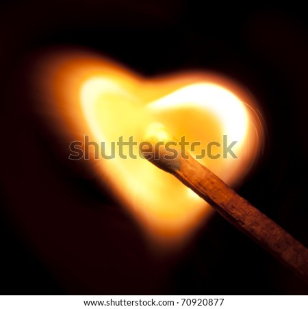 Burning match fire was a heart shape.