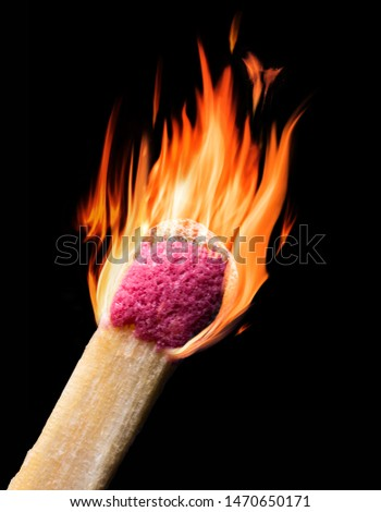 Burning match isolated on black backround. Close-up picture of head in red flames.
