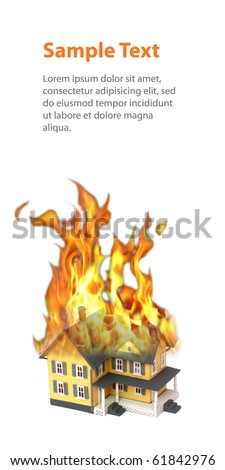 Burning miniature house isolated on white background with copyspace