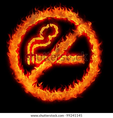 burning no smoking sign restriction plate illustration
