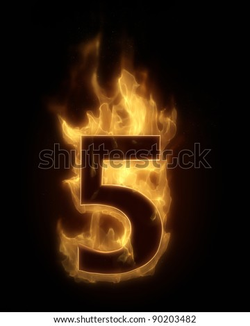 Burning number five in hot fire real 3D simulation - stock photo