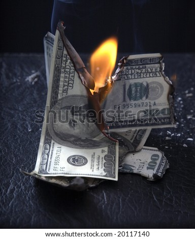 Burning of money on fire