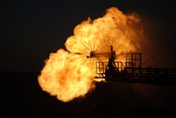 Burning of oil and gas offshore, Argentina, Atlantic ocean