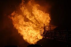 Burning of oil offshore, Argentina, Atlantic ocean