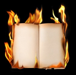 Burning old book.