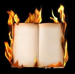 Burning old book.