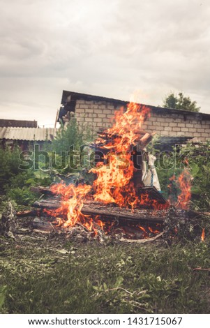 Burning old dry grass in the garden. Destruction of green space. Danger to the ozone layer. Environmental disaster. Ecology, destruction #1431715067