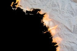 Burning paper background Black