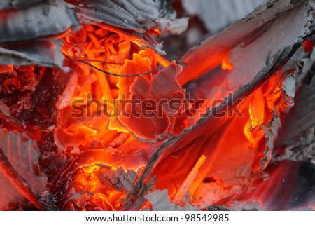 Burning paper waste - close up with shallow DOF. Enviromental concept.