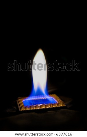 burning processor black isolated