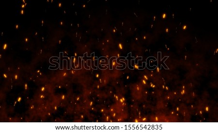 Burning red hot flying sparks fire in the night sky. Beautiful abstract background flying on black background.
