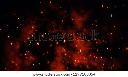 Burning red hot sparks rise from large fire. Backdrop of bonfire, light and life. 3D illustration of fiery orange and red glowing flying ember particles on black background in 4k