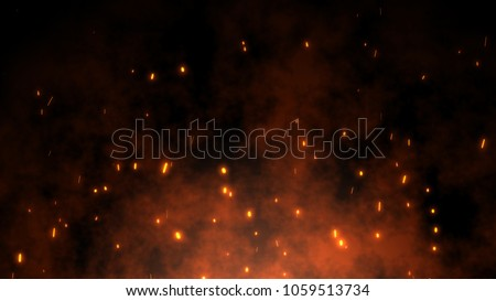 Photo of  Burning red hot sparks rise from large fire in the night sky. Beautiful abstract background on the theme of fire, light and life. Fiery orange glowing flying away particles over black background in 4k
