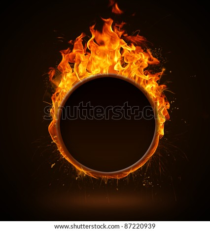 Burning round frame - stock photo