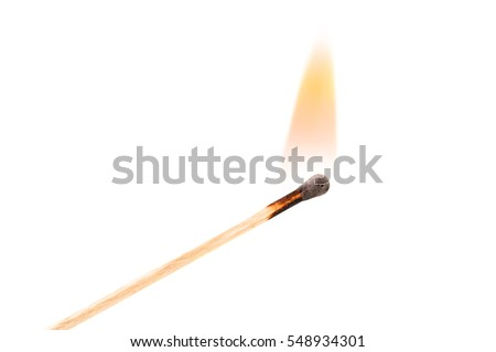 Burning safety-match with red, orange, yellow fire. Isolated on white background.  Burning match in male hand. Burning match detail on white background. Burning match-stick detail.  #548934301