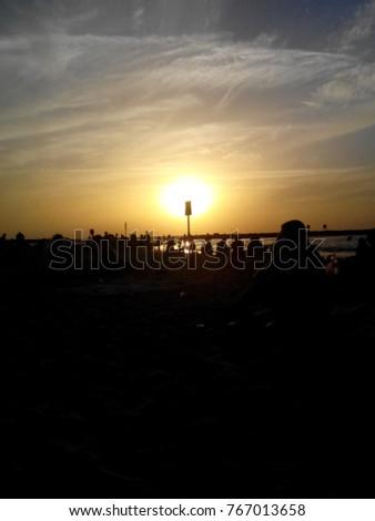 Burning sun on sunset #767013658