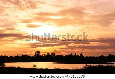 Burning Sunset Cloudscape #470108078
