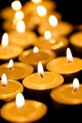 burning tea candles