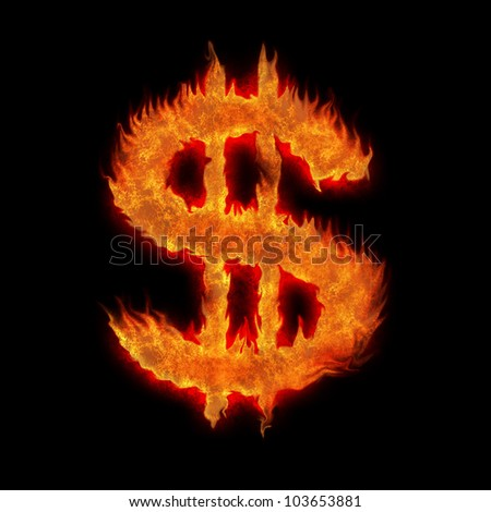 burning united states usd dollar sign on black - stock photo