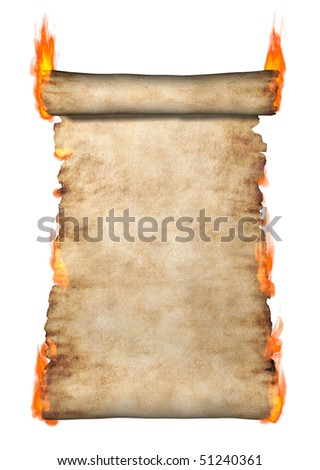 Burning vintage roll of parchment background isolated on white