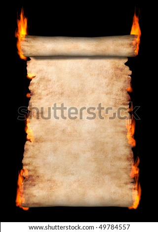 Burning vintage roll of parchment isolated on black background