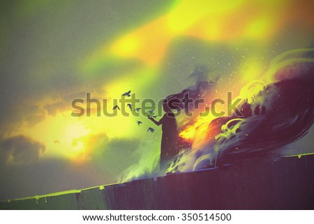 Stock Photo burning woman standing against cloudy sky,illustration painting