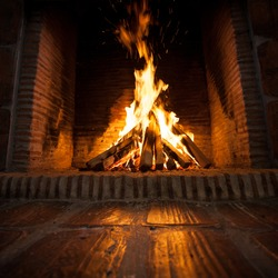 burning wood in open fire place