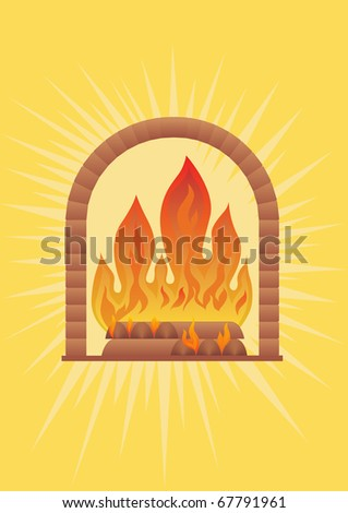 Burning wood in the fireplace and outbound from them light and warmth.