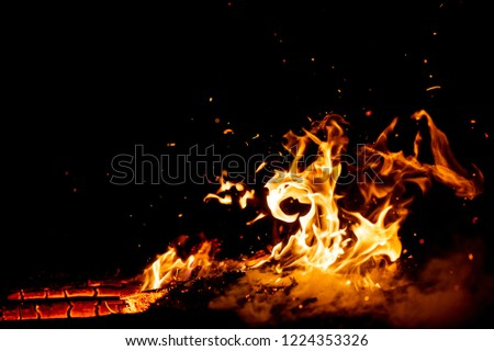 Burning woods with firesparks, flame and smoke. Strange weird odd elemental fiery figures on black background. Coal and ash. Abstract shapes at night. Bonfire outdoor on nature. Strenght of element #1224353326