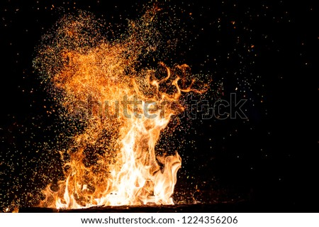 Burning woods with firesparks, flame and smoke. Strange weird odd elemental fiery figures on black background. Coal and ash. Abstract shapes at night. Bonfire outdoor on nature. Strenght of element #1224356206