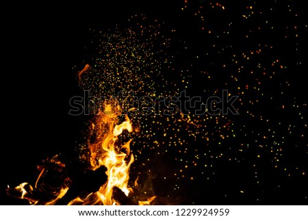 Burning woods with firesparks, flame and smoke. Strange weird odd elemental fiery figures on black background. Coal and ash. Abstract shapes at night. Bonfire outdoor on nature. Strenght of element #1229924959