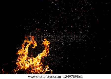 Burning woods with firesparks, flame and smoke. Strange weird odd elemental fiery figures on black background. Coal and ash. Abstract shapes at night. Bonfire outdoor on nature. Strenght of element #1249789861