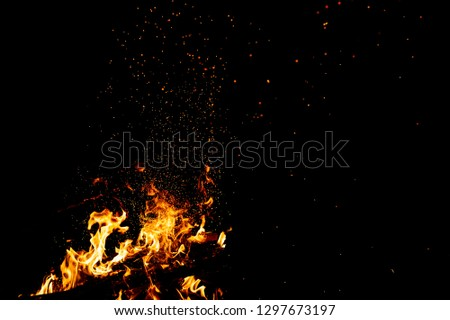 Burning woods with firesparks, flame and smoke. Strange weird odd elemental fiery figures on black background. Coal and ash. Abstract shapes at night. Bonfire outdoor on nature. Strenght of element #1297673197