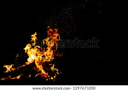 Burning woods with firesparks, flame and smoke. Strange weird odd elemental fiery figures on black background. Coal and ash. Abstract shapes at night. Bonfire outdoor on nature. Strenght of element #1297673200