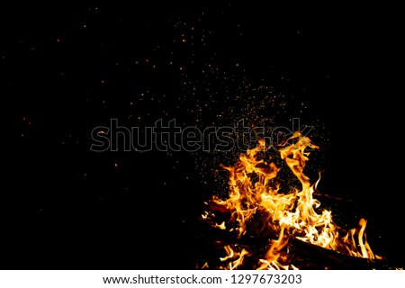 Burning woods with firesparks, flame and smoke. Strange weird odd elemental fiery figures on black background. Coal and ash. Abstract shapes at night. Bonfire outdoor on nature. Strenght of element #1297673203