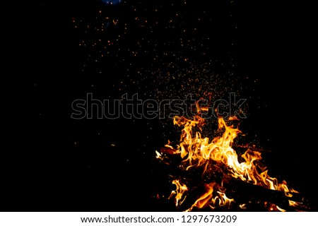 Burning woods with firesparks, flame and smoke. Strange weird odd elemental fiery figures on black background. Coal and ash. Abstract shapes at night. Bonfire outdoor on nature. Strenght of element #1297673209