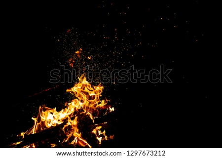 Burning woods with firesparks, flame and smoke. Strange weird odd elemental fiery figures on black background. Coal and ash. Abstract shapes at night. Bonfire outdoor on nature. Strenght of element #1297673212