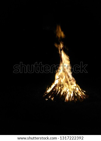 Burning woods with firesparks, flame and smoke. Strange weird odd elemental fiery figures on black background. Coal and ash. Abstract shapes at night. Bonfire outdoor on nature. Strenght of element  #1317222392