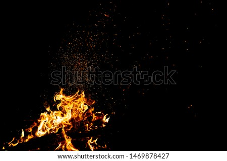 Burning woods with firesparks, flame and smoke. Strange weird odd elemental fiery figures on black background. Coal and ash. Abstract shapes at night. Bonfire outdoor on nature. Strenght of element #1469878427