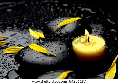 Burning yellow candle with yellow flower petals in water drops