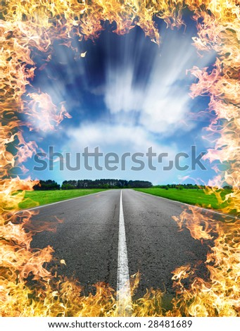 burninging road burning bright blaze