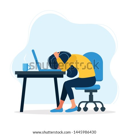 Burnout concept illustration with exhausted female office worker sitting at the table. Frustrated worker, mental health problems. illustration in flat style