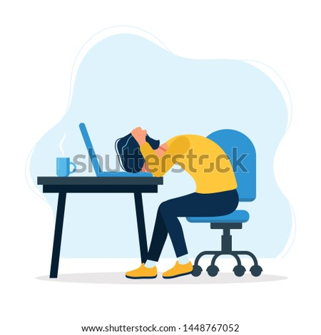 Burnout concept illustration with exhausted man office worker sitting at the table. Frustrated worker, mental health problems. illustration in flat style