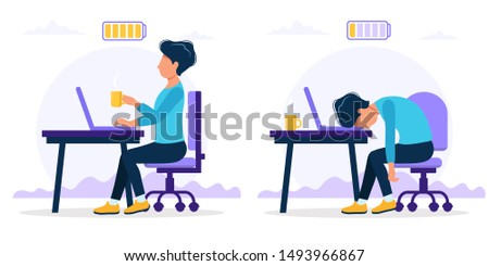 Burnout concept illustration with happy and exhausted male office worker sitting at the table with full and low battery. Frustrated worker, mental health problems. illustration in flat style
