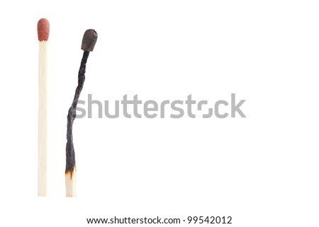 burnout thru matches isolated on a white background - stock photo