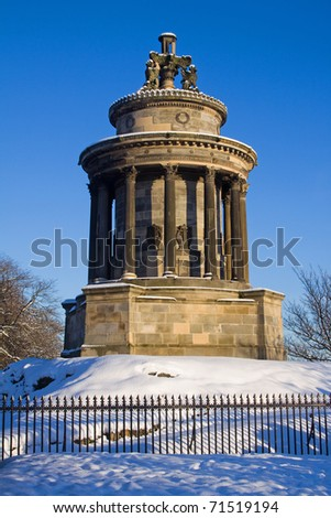 Burns Monument, Calton Hill, Edinburgh was erected in 1830 by Thomas Hamilton to commemorate Scotland's national poet Robert Burns.