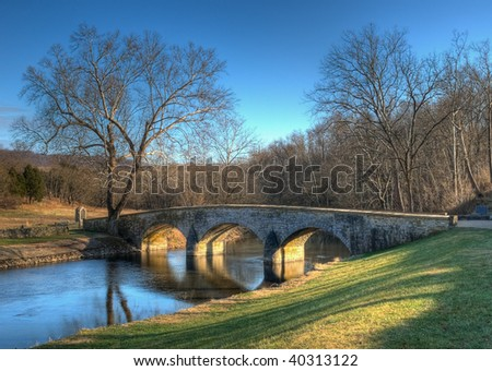 Burnside's Bridge in Sharpsburg, Maryland in late afternoon light - this bridge played a key role in the Battle of Antietam Creek during the American Civil War - stock photo