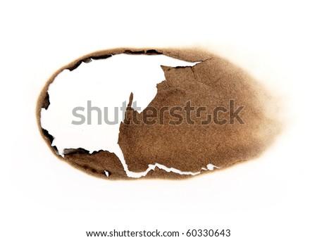 burnt edges paper isolated on white background